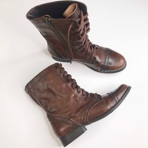 Steve Madden Brown Leather Combat Boot Size 7